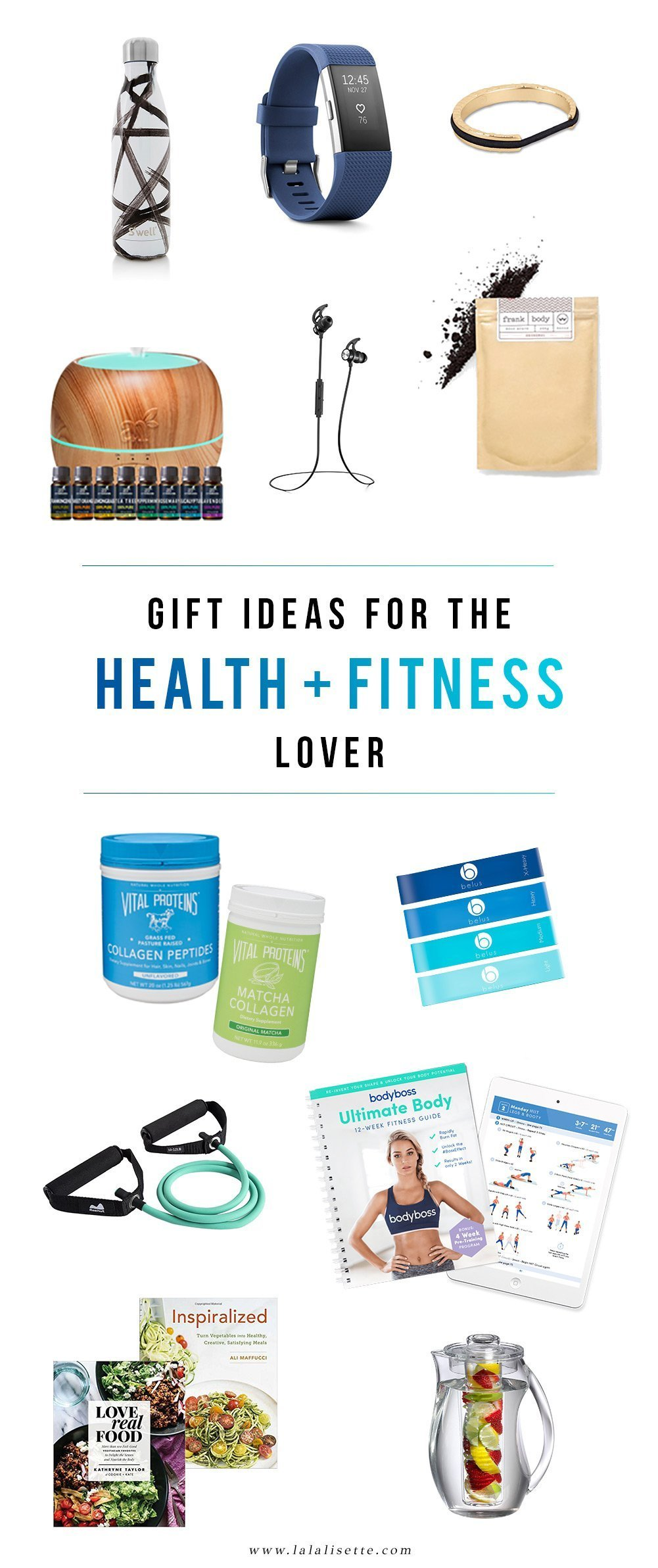Here are a few gift ideas for the health and #fitness lover in your life. The one who loves exercise, healthy eating, meditating, and self-care. #giftideas #fitnessgifts