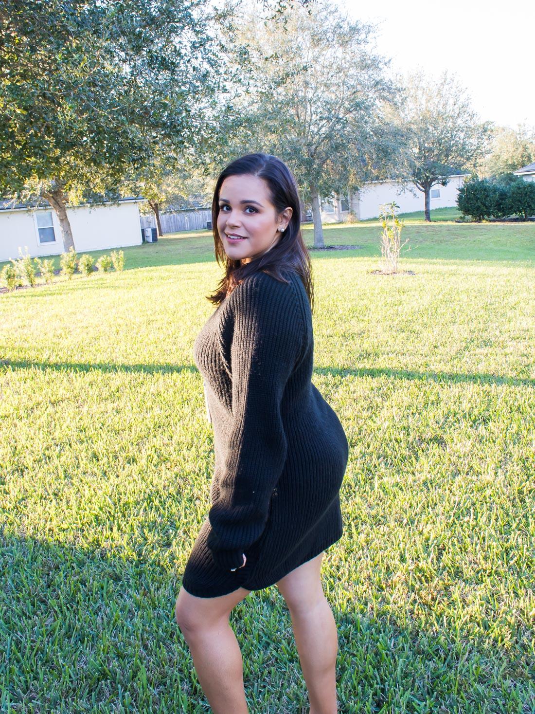 Fall Fashion in Warmer Climates | Tobi Black Dolphin Hem Sweater Dress