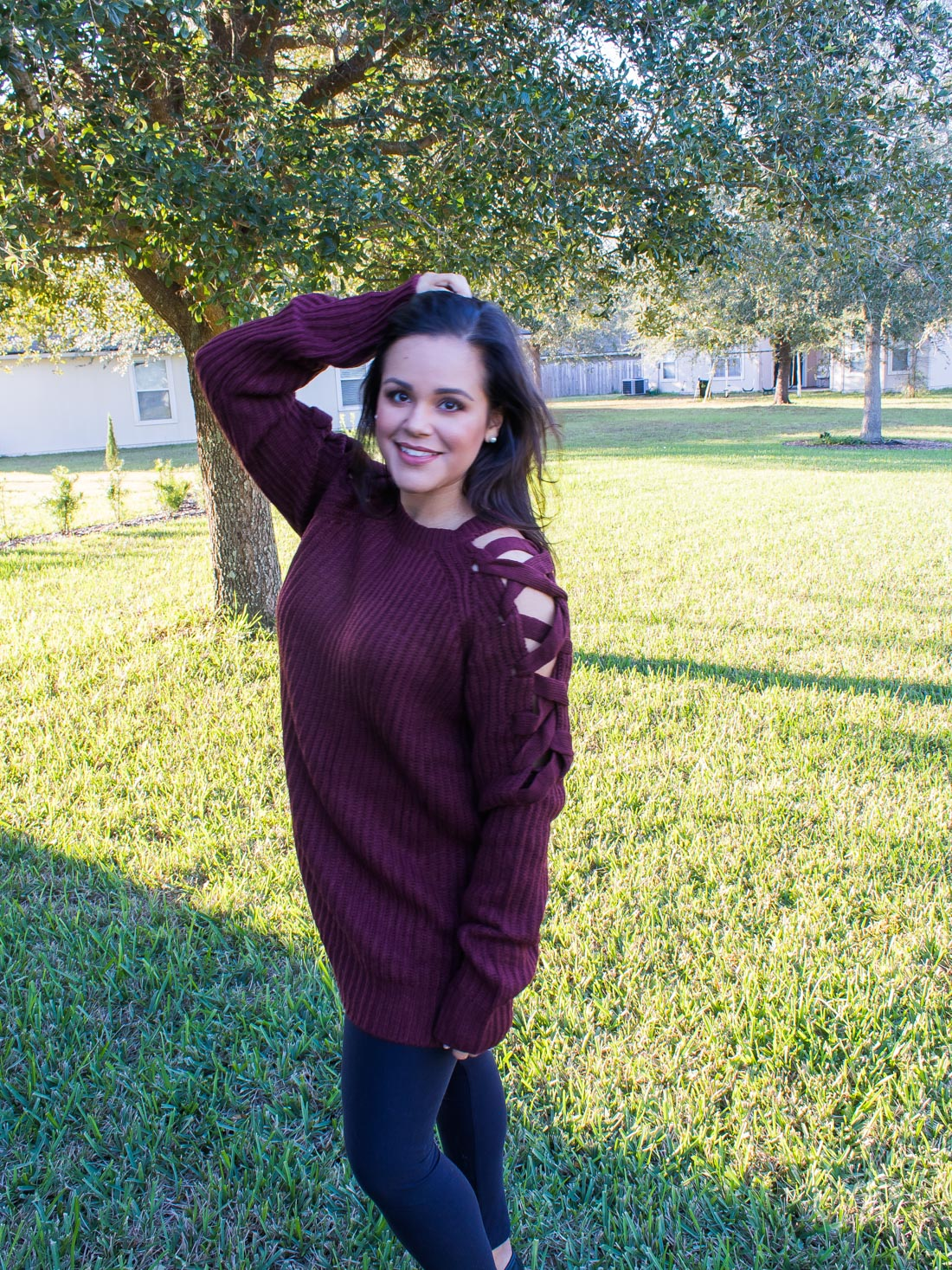 Fall Fashion in Warmer Climates | Tobi wine criss cross sweater
