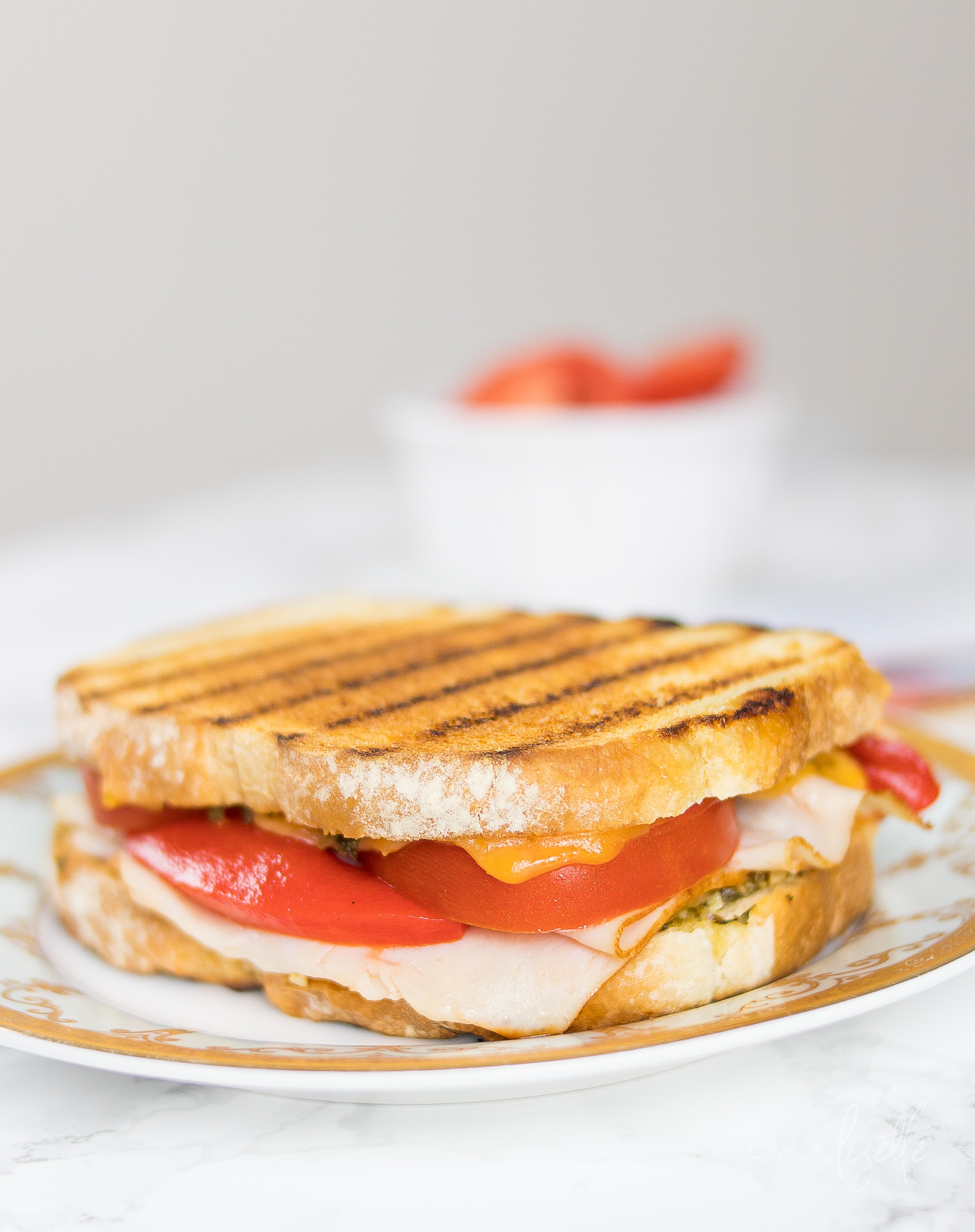 pesto turkey cheddar panini
