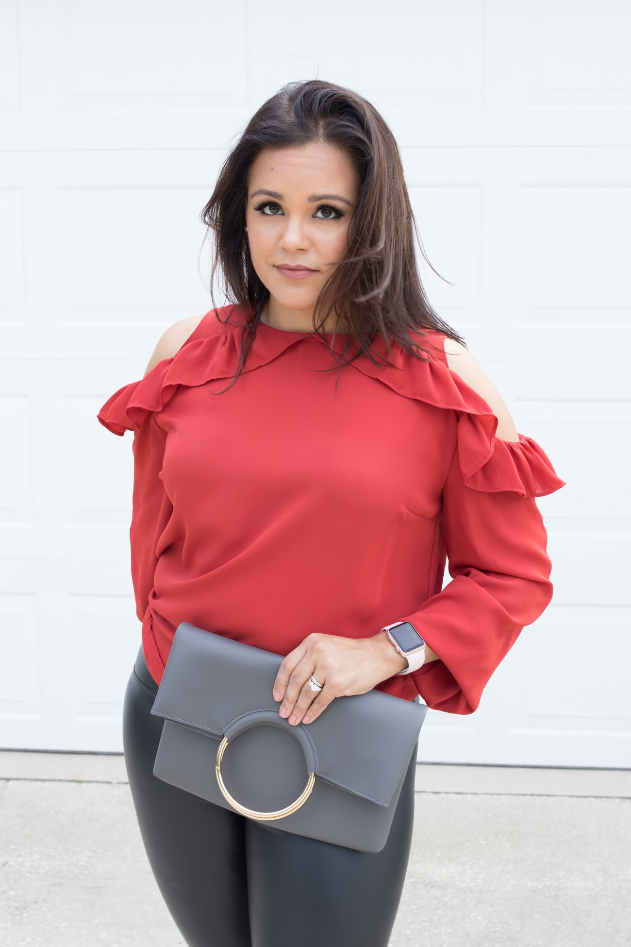 Unique Gifts for Her   La La Lisette - Are you still looking for unique gifts for her? These gifts are perfect for the person who has everything and are a little hard to shop for. Le Tote subscription red ruffle top and faux leather leggings #wishlistbbxx