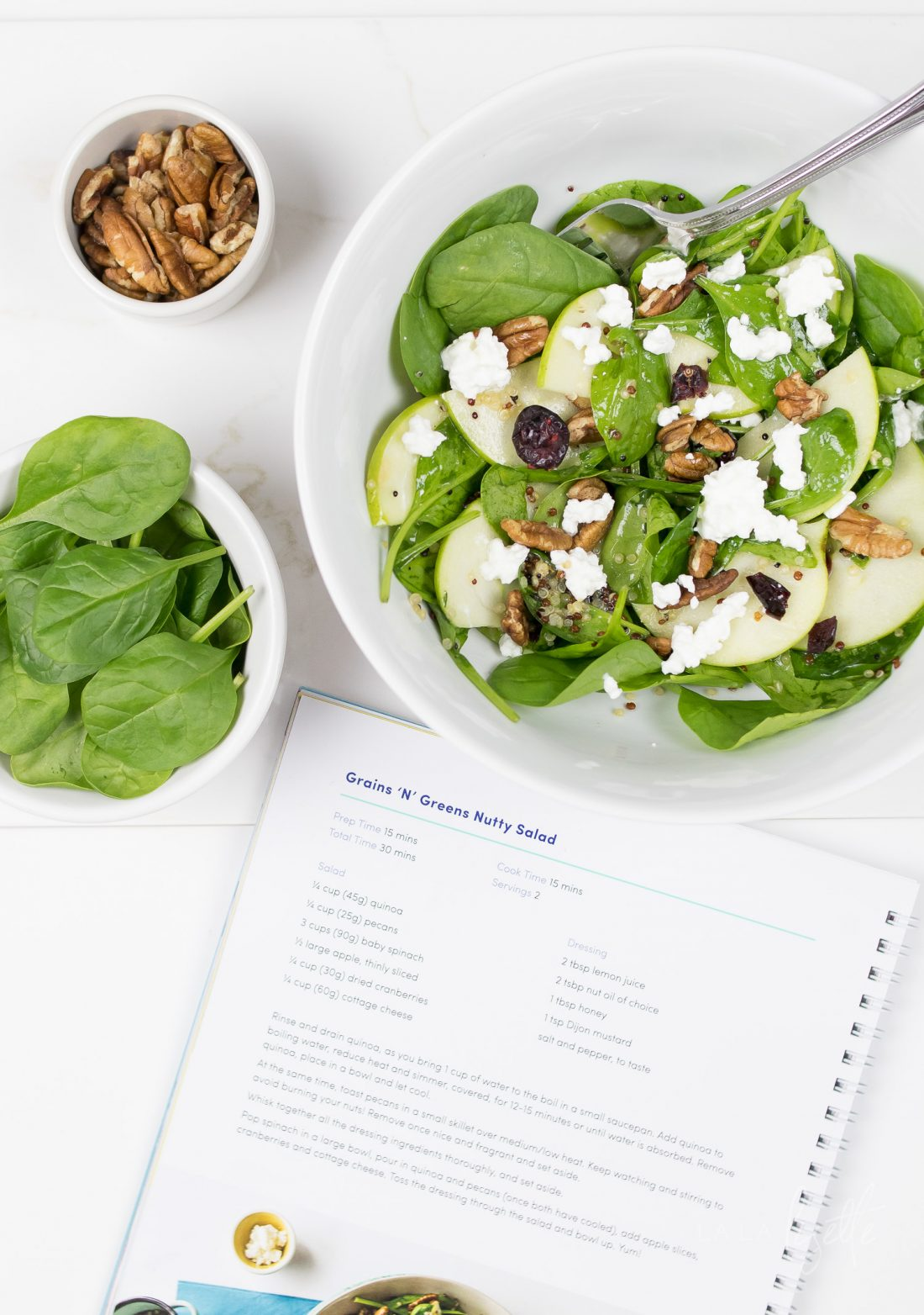 BodyBoss Superfood Nutrition Guide incorporates real, healthy foods like baby spinach, cottage cheese, fruits, and quinoa in its dishes