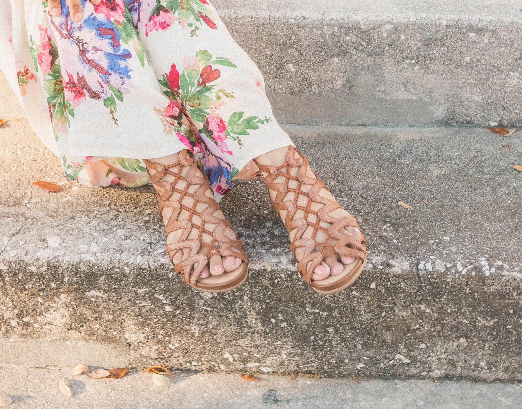 woman wearing comfortable shoes on steps