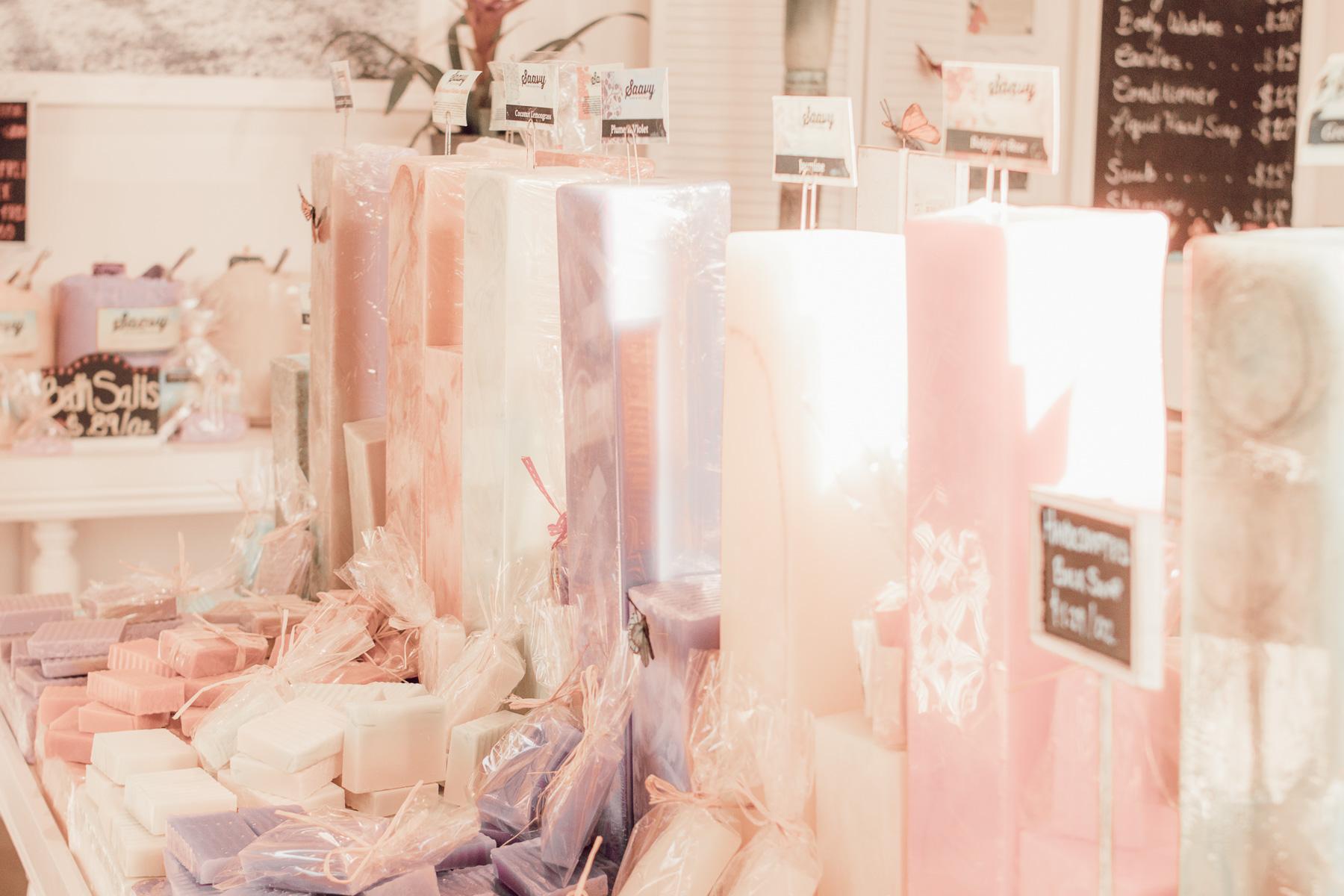 all natural soap bars on display at Saavy Naturals