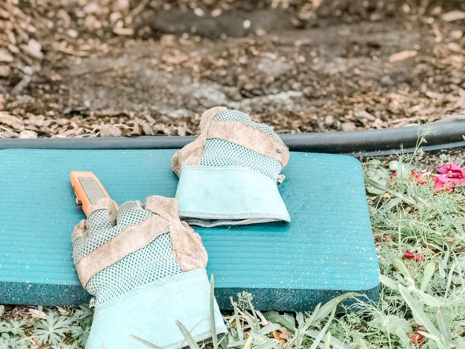 green gardening gloves and blue kneeling mat
