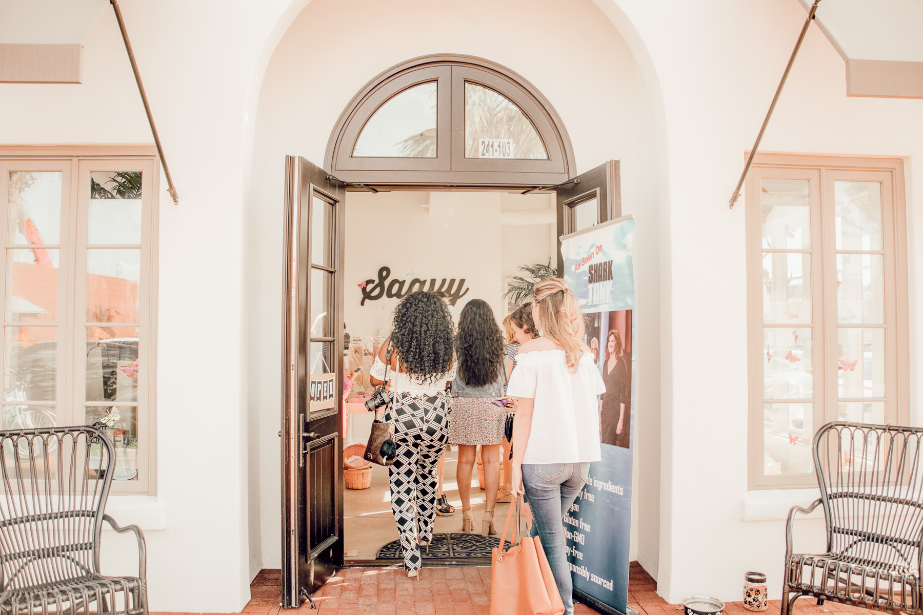 bloggers standing in Saavy Naturals storefront Neptune Beach, Florida