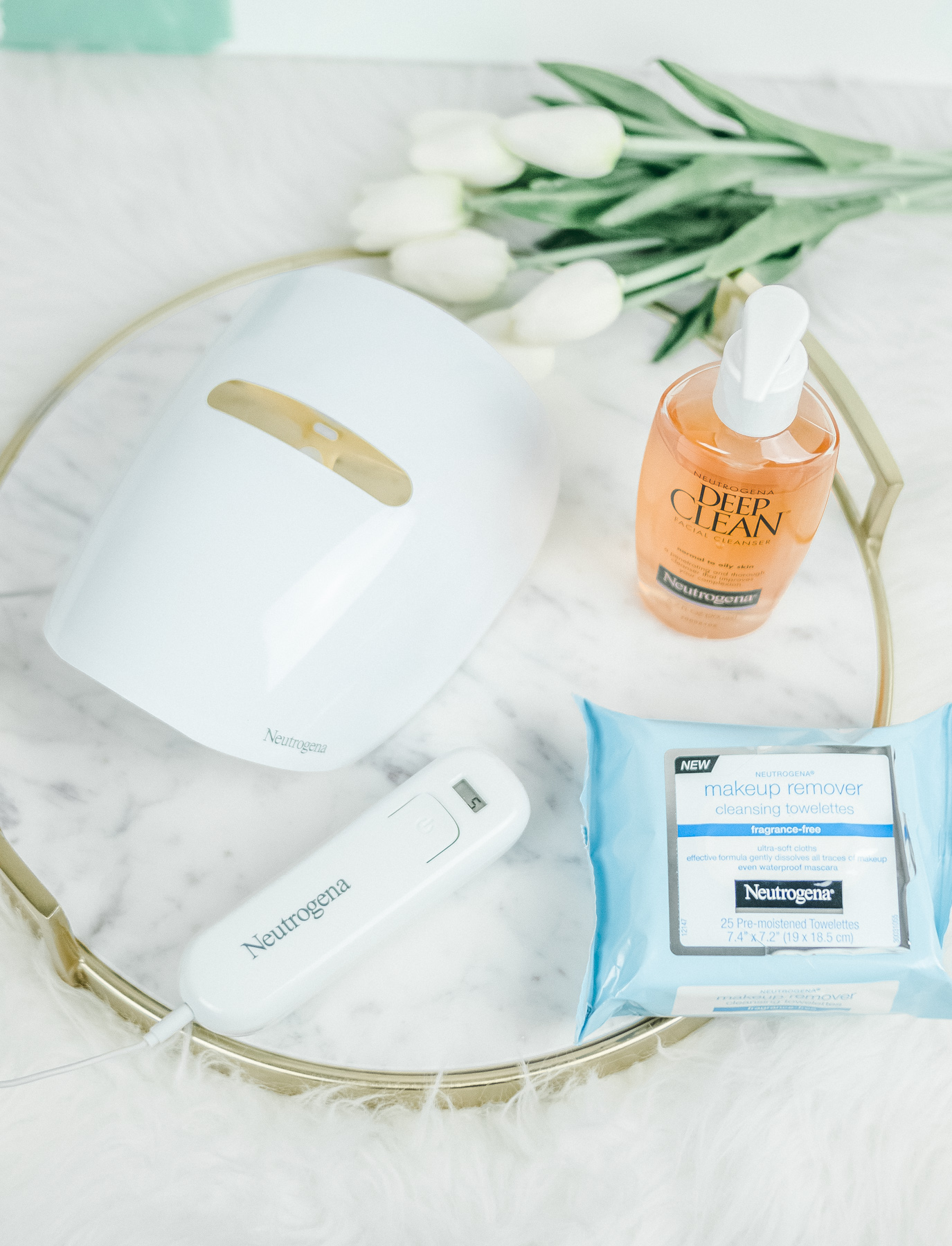Neutrogena Light Therapy acne mask, Deep Clean cleanser, and makeup removing towelettes
