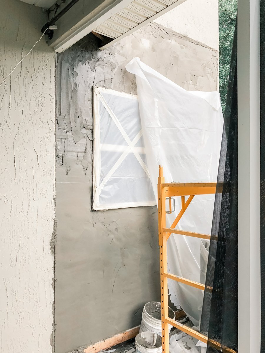New stucco in water damaged wall Jacksonville, Florida