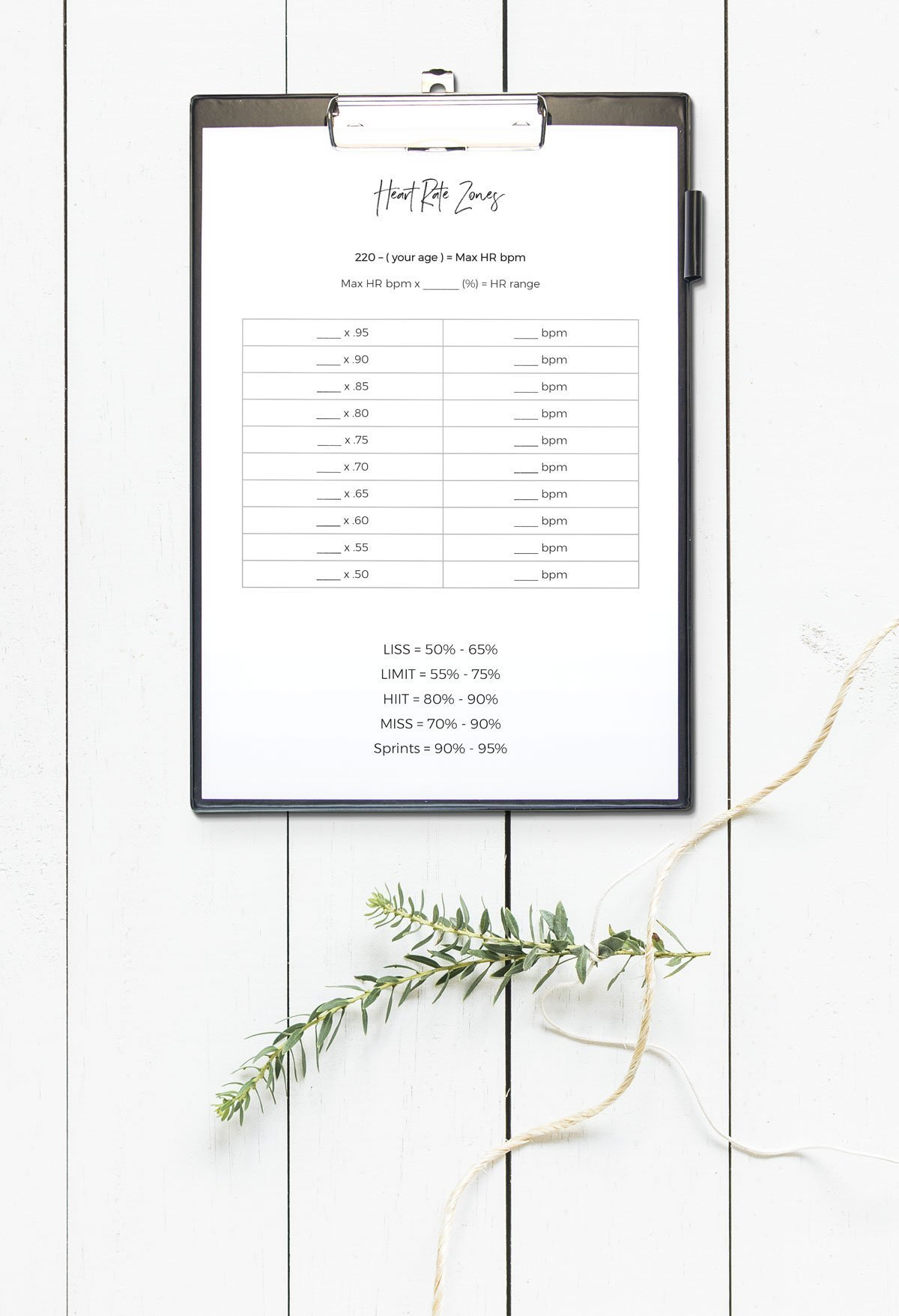 FREE heart rate zones printable | fitness heart rate tracker freebie