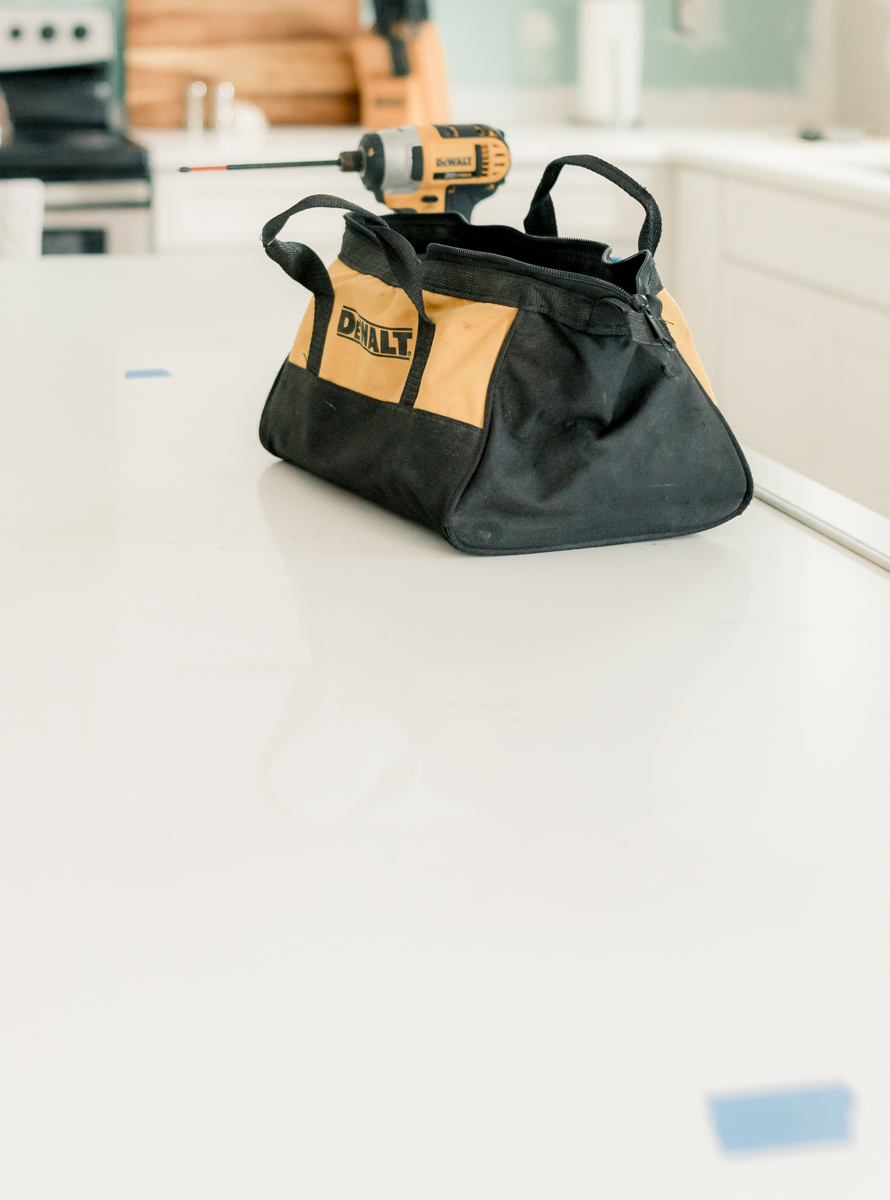 DEWALT tool bag on white countertop