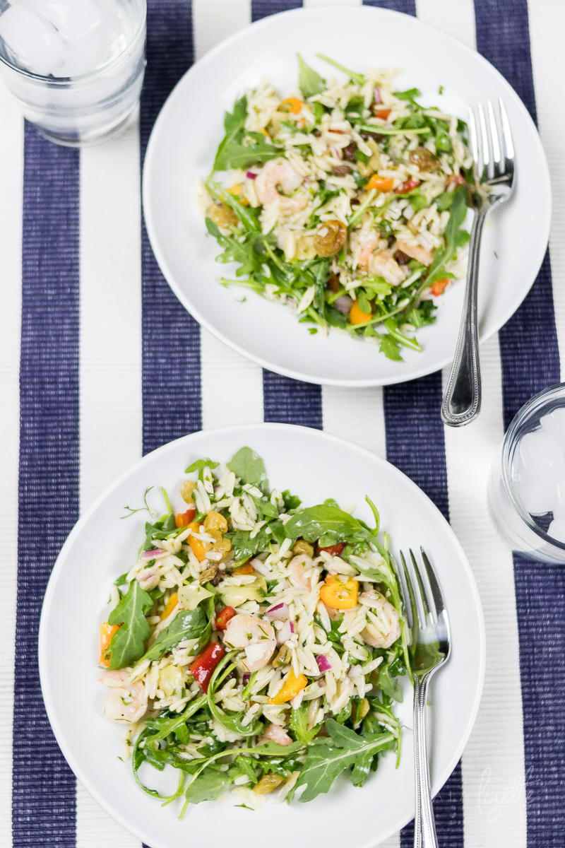 shrimp orzo pasta summer salad