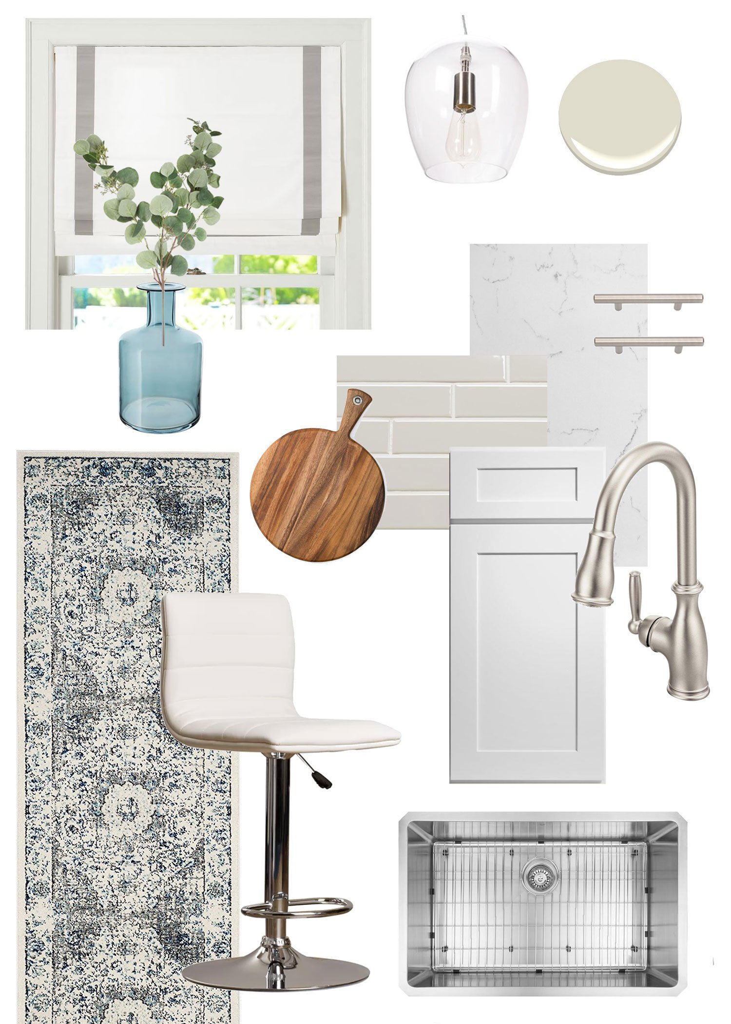 collage of textiles, hardware, and accessories for a white kitchen