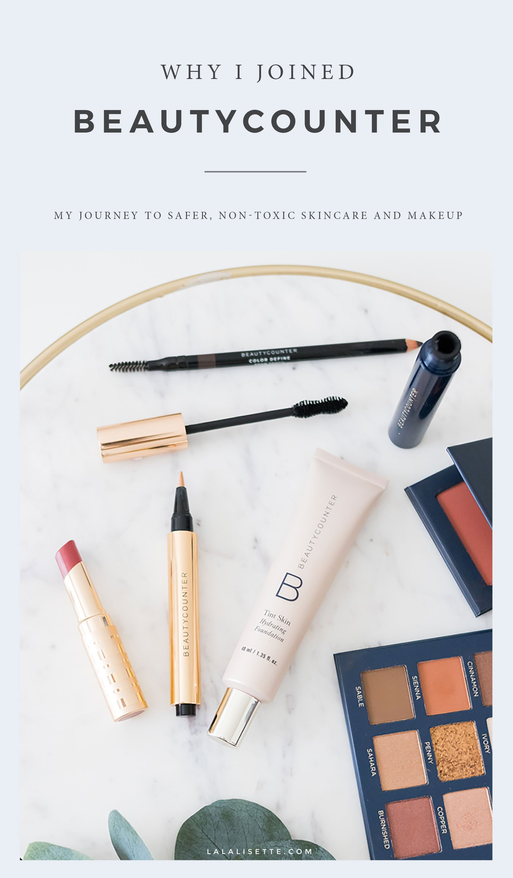Beautycounter makeup on marble tray with text overlay – Why I Joined Beautycounter - My Journey to Safer, Non-Toxic Skincare and Beauty