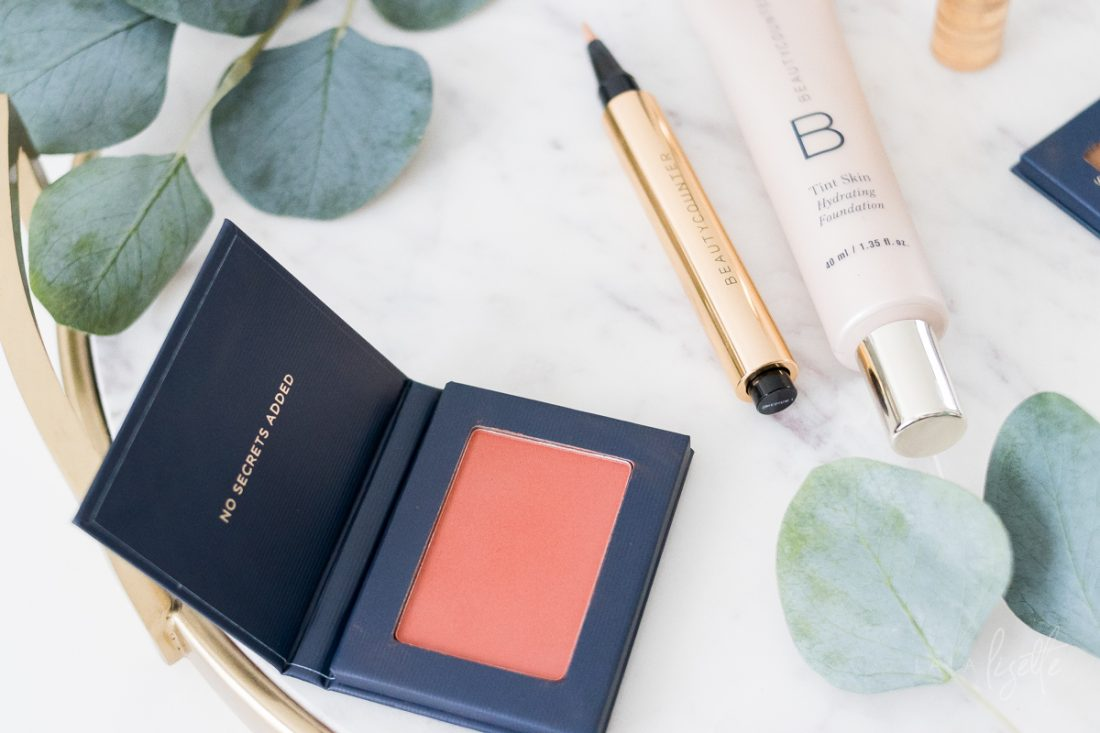 safer beauty Beautycounter products blush, concealer, and Skin Tint