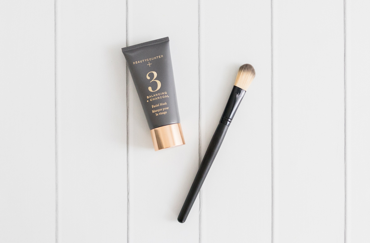 Beautycounter No. 3 Balancing Charcoal Mask with mask brush