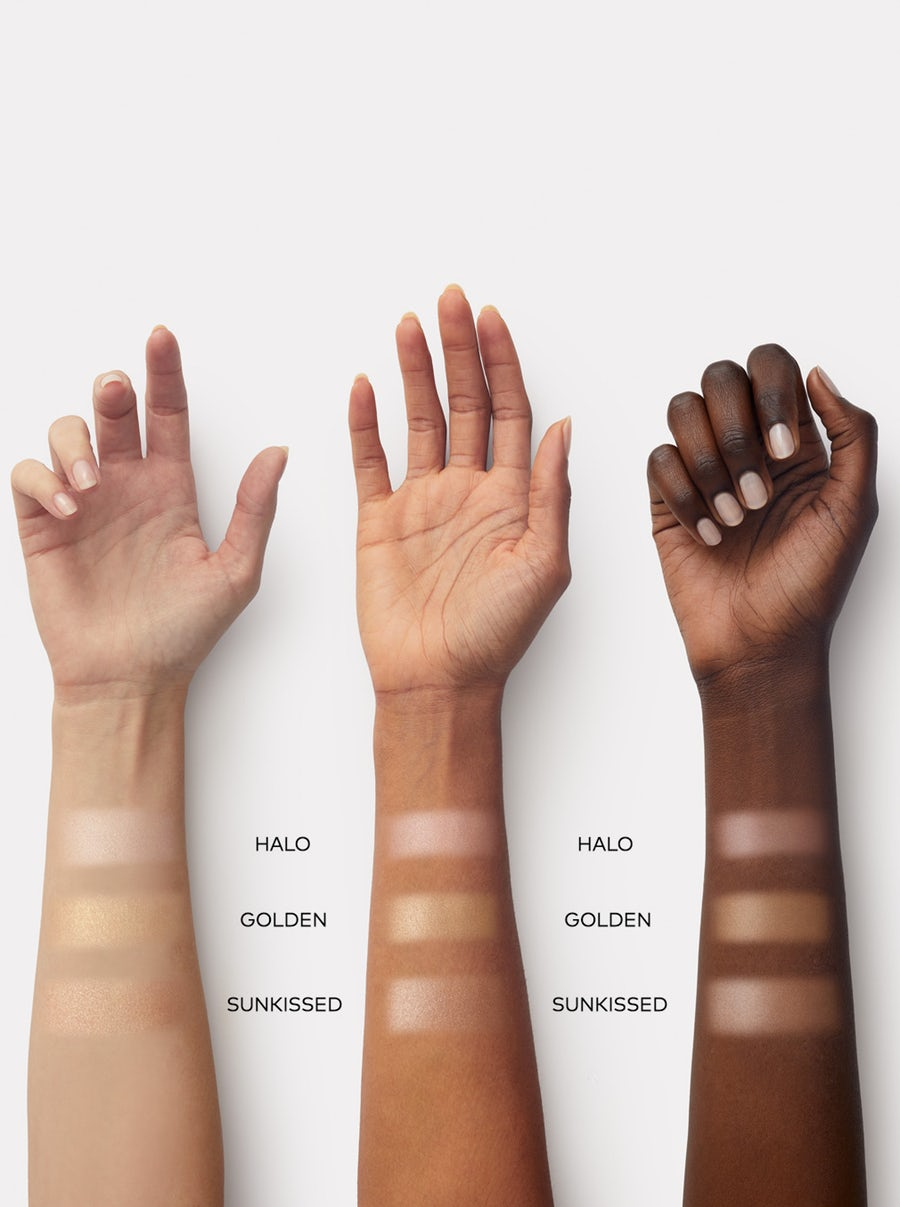 Beautycounter First Light Highlighter Palette swatches on three skintones