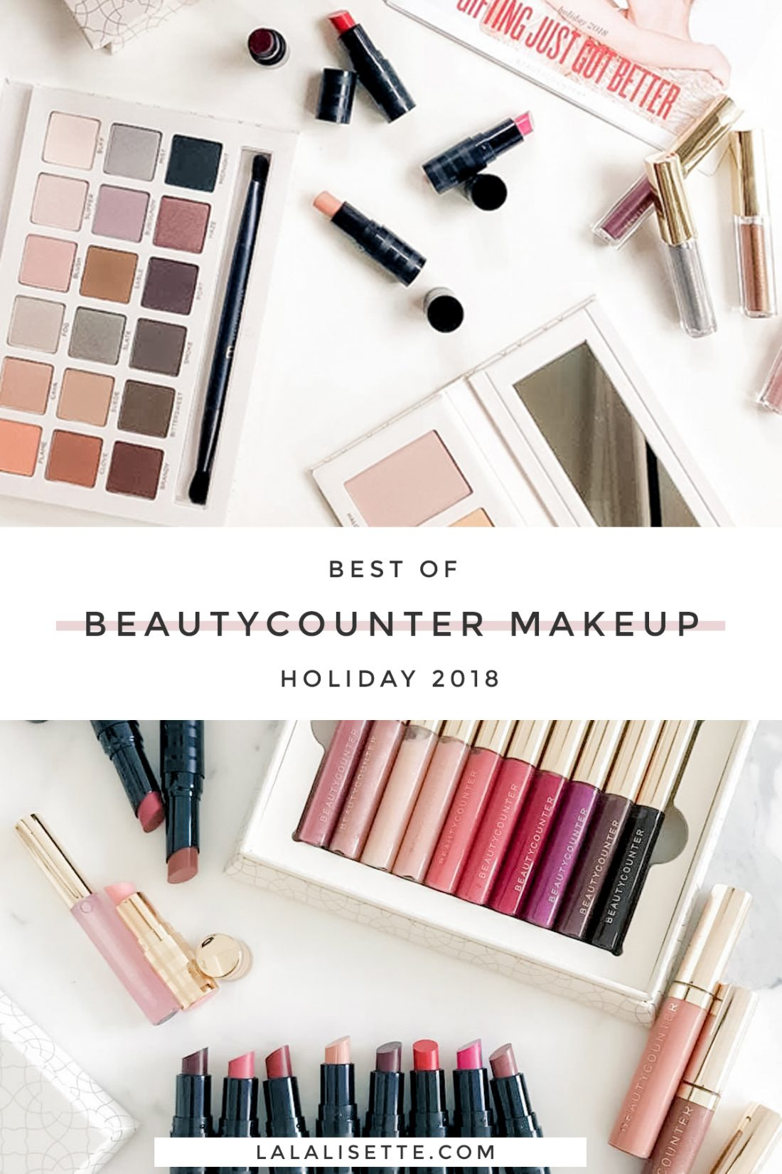 flatlays of Bautycounter makeup with text: Best of Beautycounter Makeup Holiday 2018