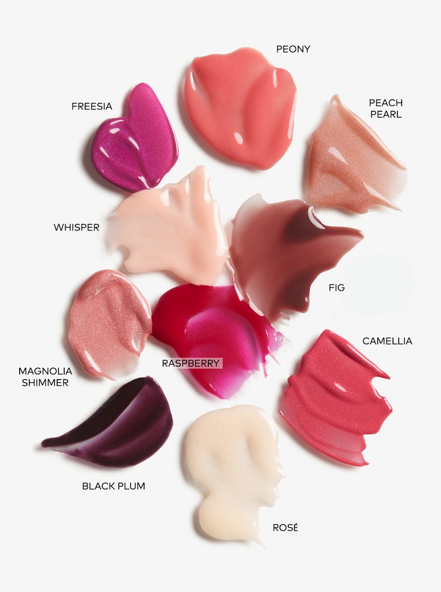 Beautycounter Mini Lip Gloss Vault swatches with their names