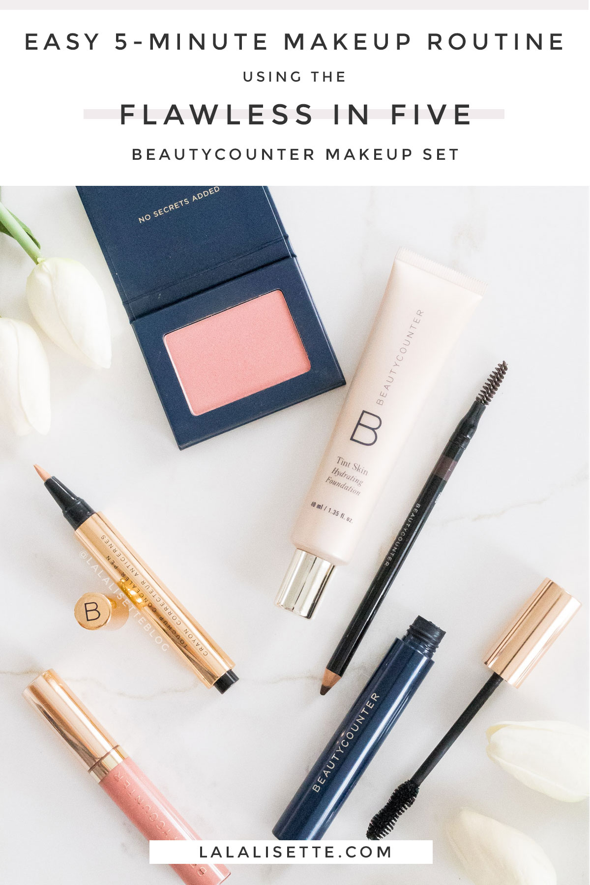 Beautycounter Flawless in Five makeup with text above – Easy 5-Minute Makeup Routine Using the Flawless in Five Beautycounter Makeup Set