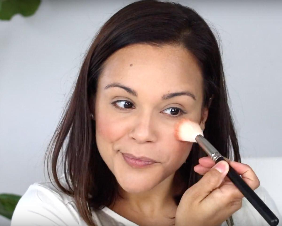 applying Beautycounter Satin Blush in Date