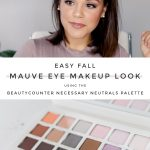 "image of blogger and Beautycounter Necessary Neutrals Palette with text: ""Easy Fall Mauve Eye Makeup Look using the Beautycounter Necessary Neutrals Palette"""