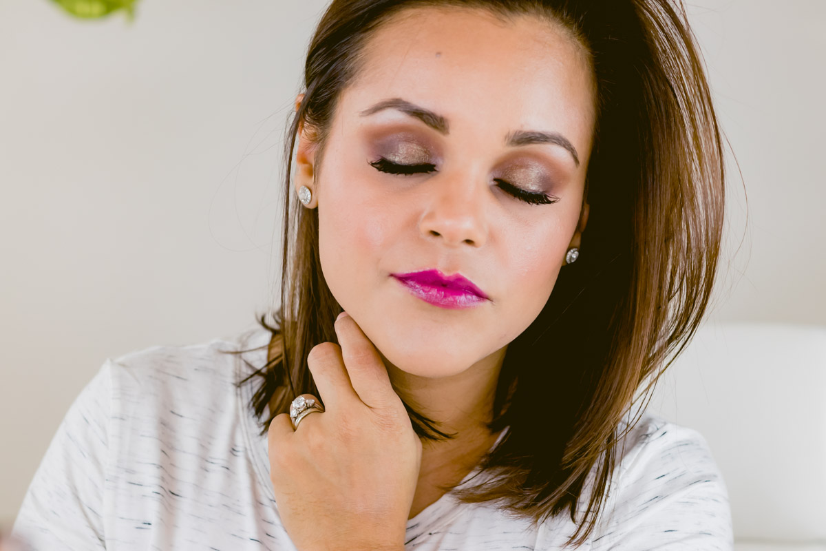 glam plum makeup look with Beautycounter