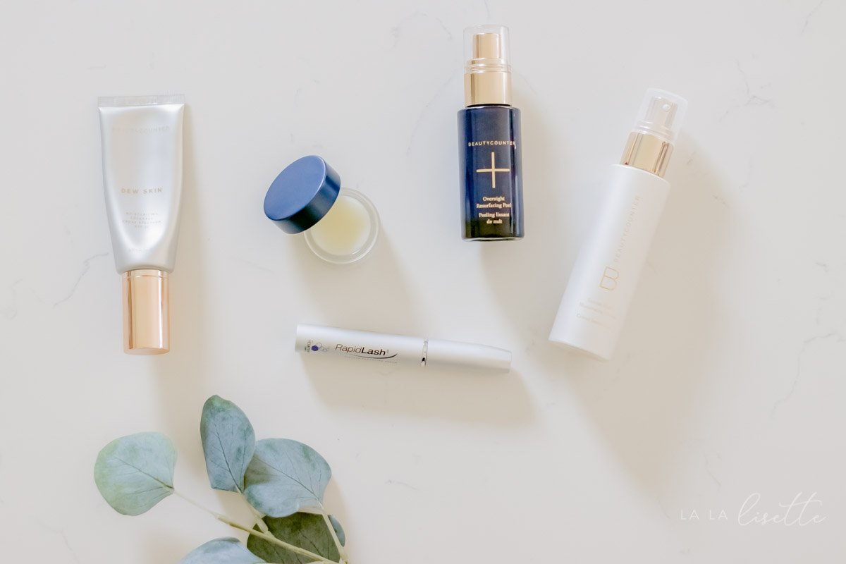 Beautycounter Dew Skin, Overnight Resurfacing Peel, Lip Conditioner and RapidLash | winter skincare essentials