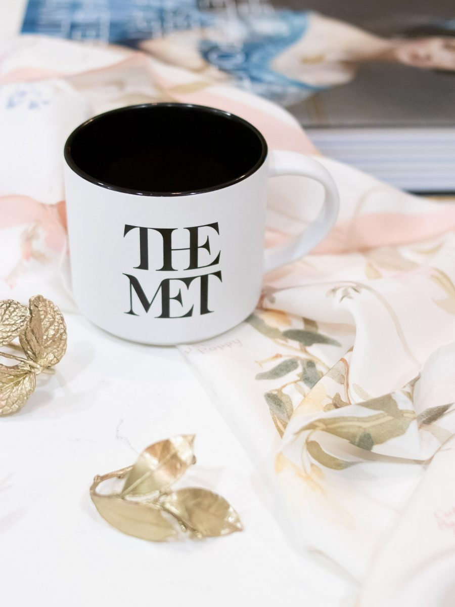 mug with The Met logo, botanical scarf and book from The Metropolitan Museum