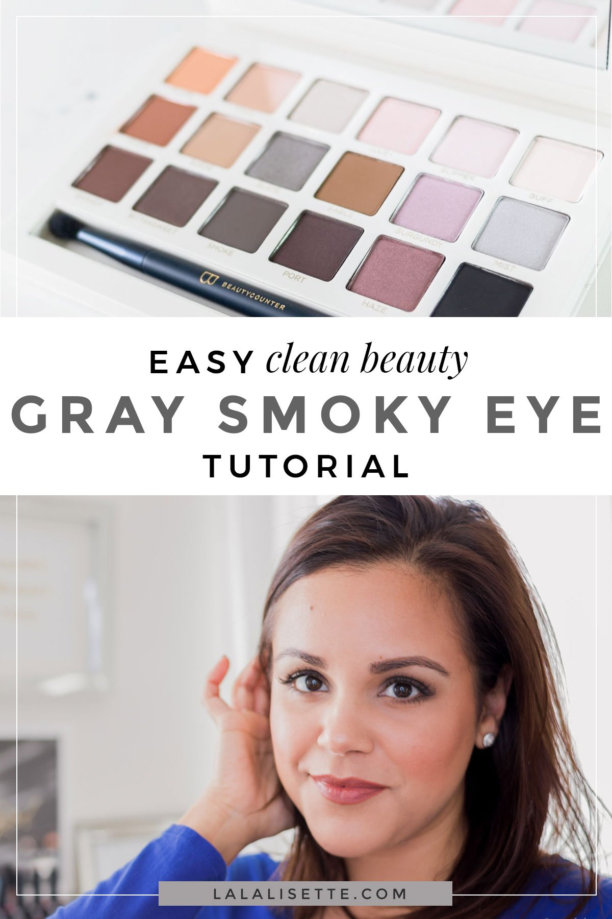 An easy gray smoky eye makeup tutorial using clean beauty products by Beautycounter and other clean brands.  A great everyday smoky eye look. #cleanbeauty #smokyeye #smokyeyetutorial #smokyeyemakeup #greenbeauty #nontoxicbeauty #cleanbeautyproject #cleanbeautyglam #saferbeauty #betterbeauty