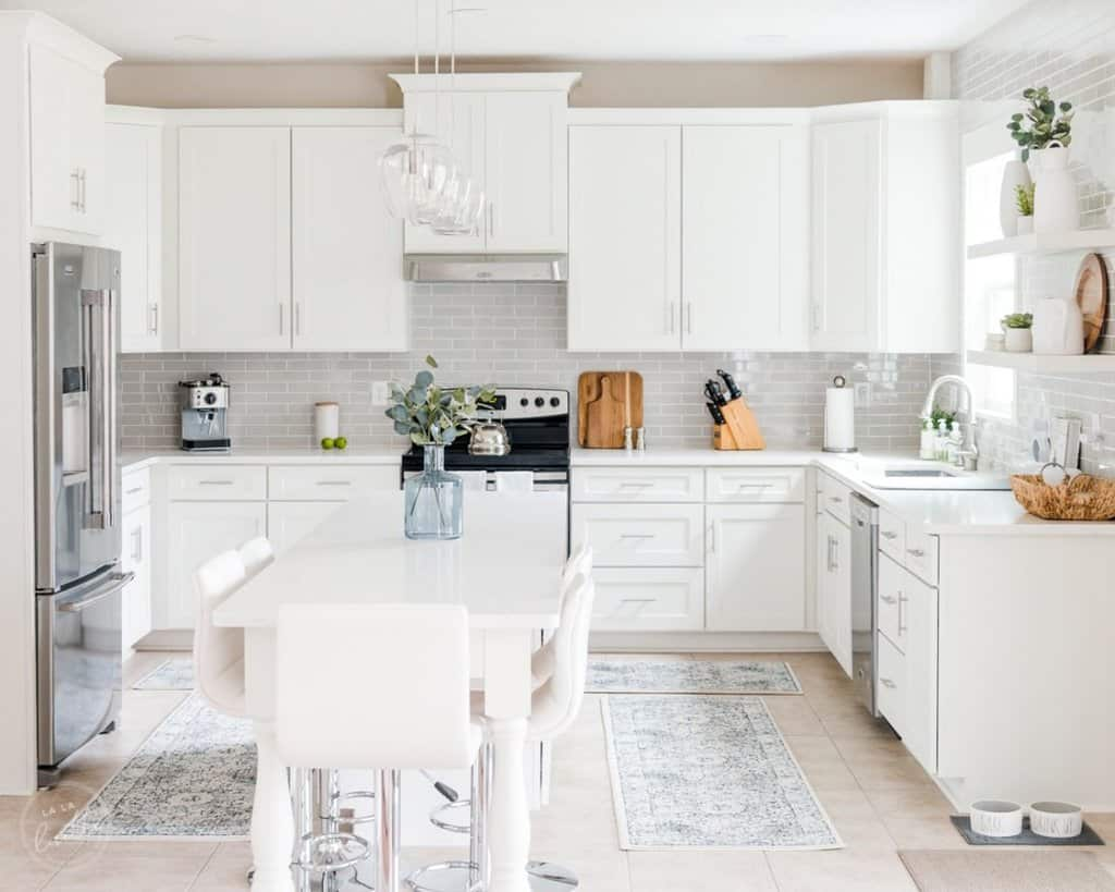 white shaker and gray tile kitchen
