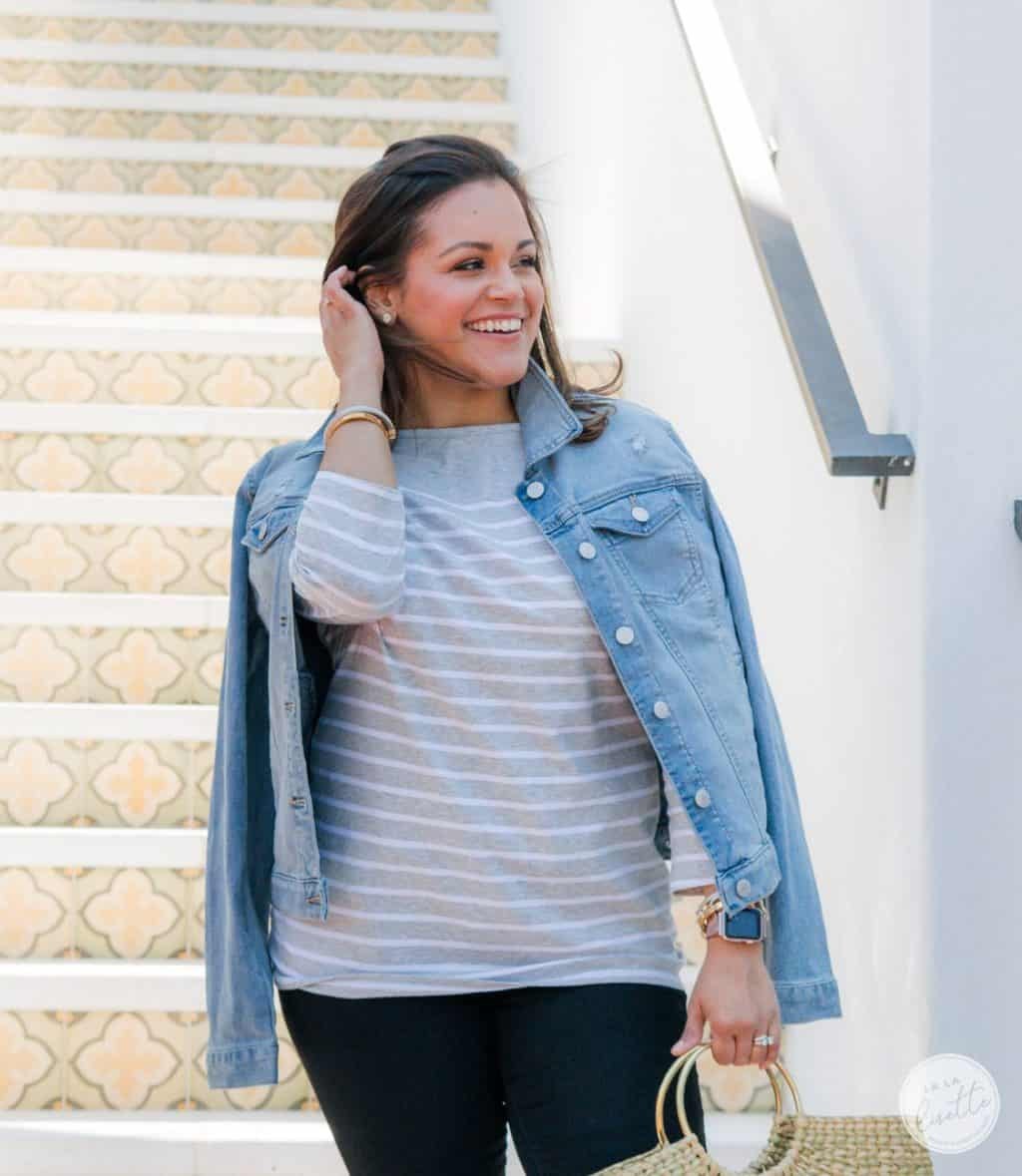 woman wearing clothes from Walmart: a jean jacket and top #WeDressAmerica #WalmartFashion https://ooh.li/fa4cfae