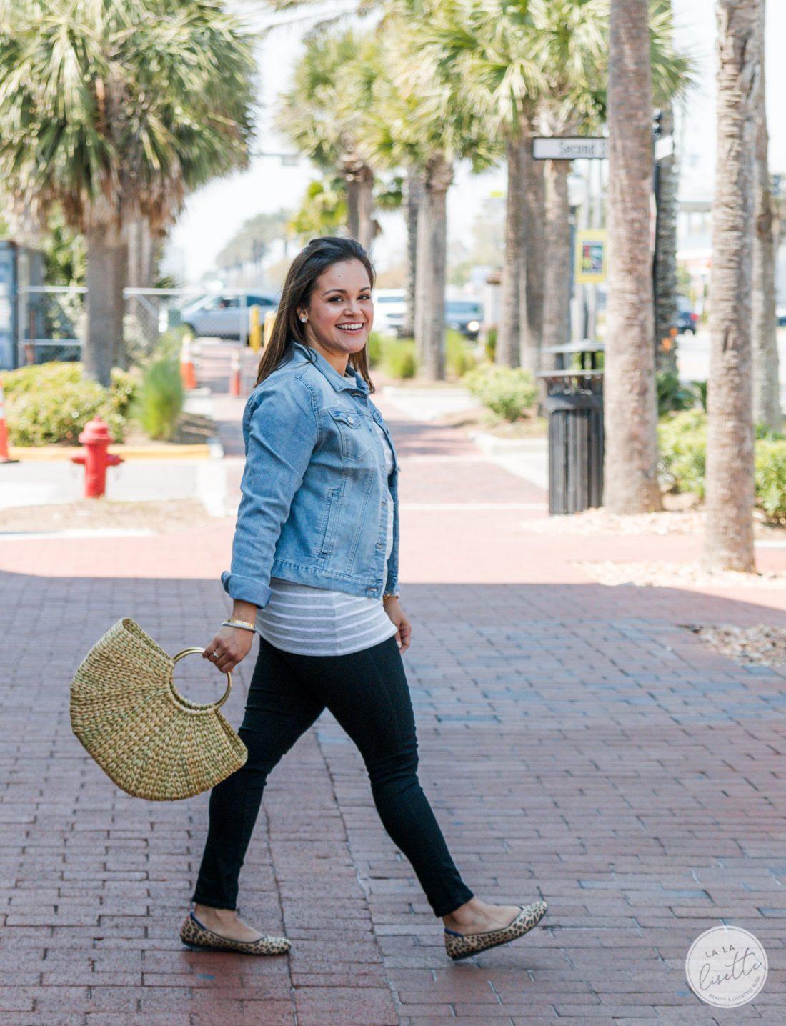 woman wearing spring clothes from Walmart: a jean jacket and top #WeDressAmerica #WalmartFashion https://ooh.li/fa4cfae