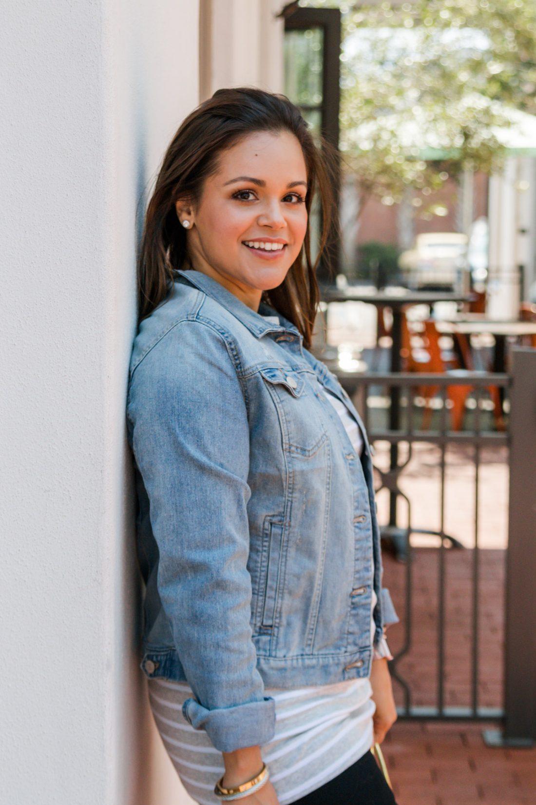 woman wearing Walmart jean jacket