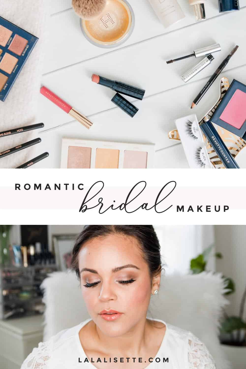 A bridal makeup tutorial using clean beauty products. This romantic makeup will look great on all skintones. #cleanbeauty #bridalmakeup #makeuptutorial #cleanbeautyproject