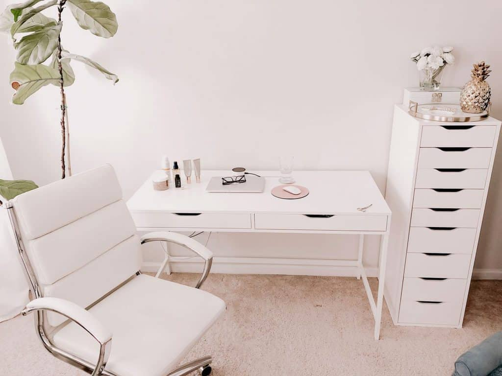 blogger office with IKEA Alex furniture