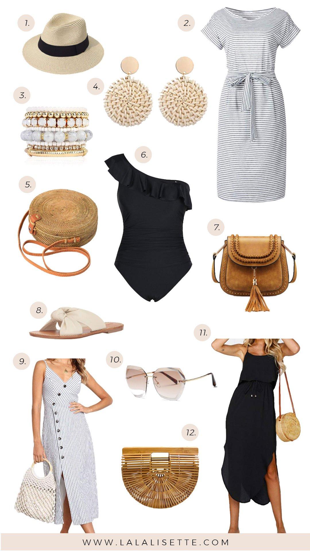 fashion pieces from Amazon (hat, earrings, swimsuit, dresses, purses, bracelet, sunglasses, sandal)