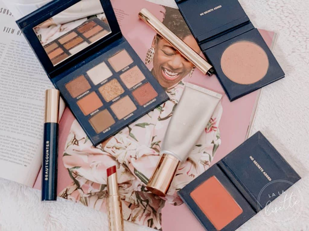flatlay of clean makeup by Beautycounter