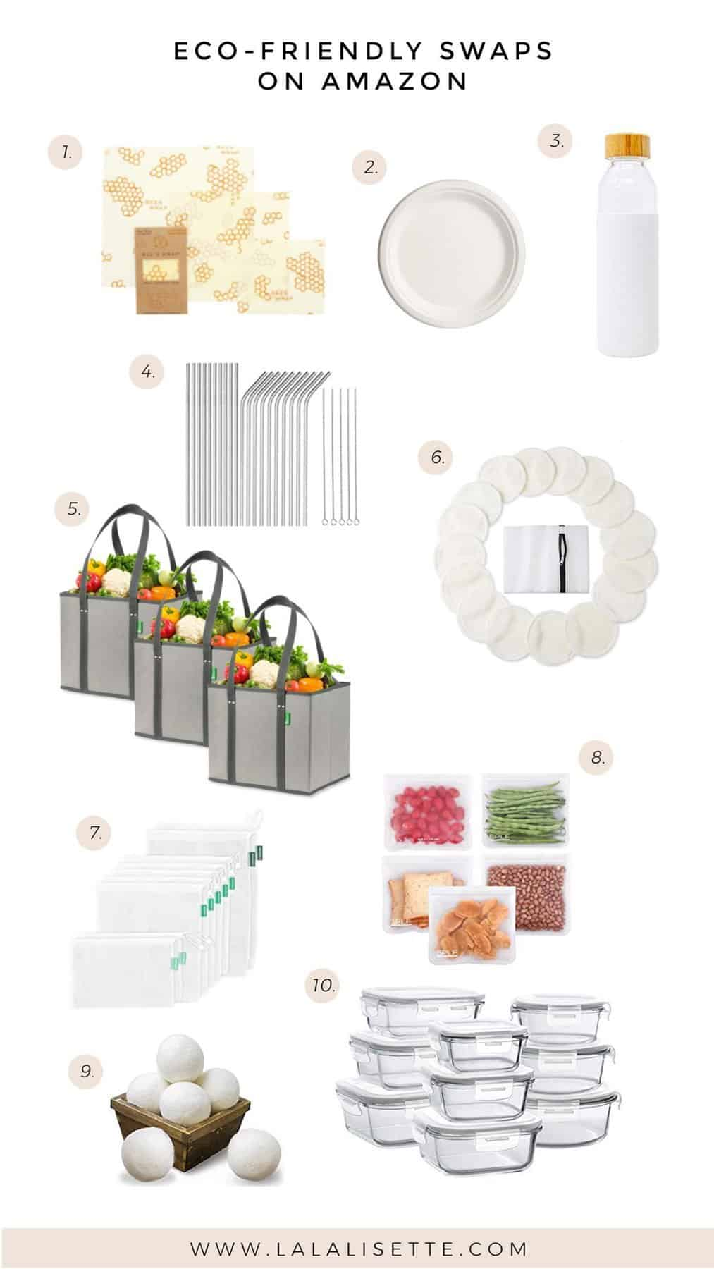 graphic with eco-friendly products with title: eco-friendly swaps on amazon