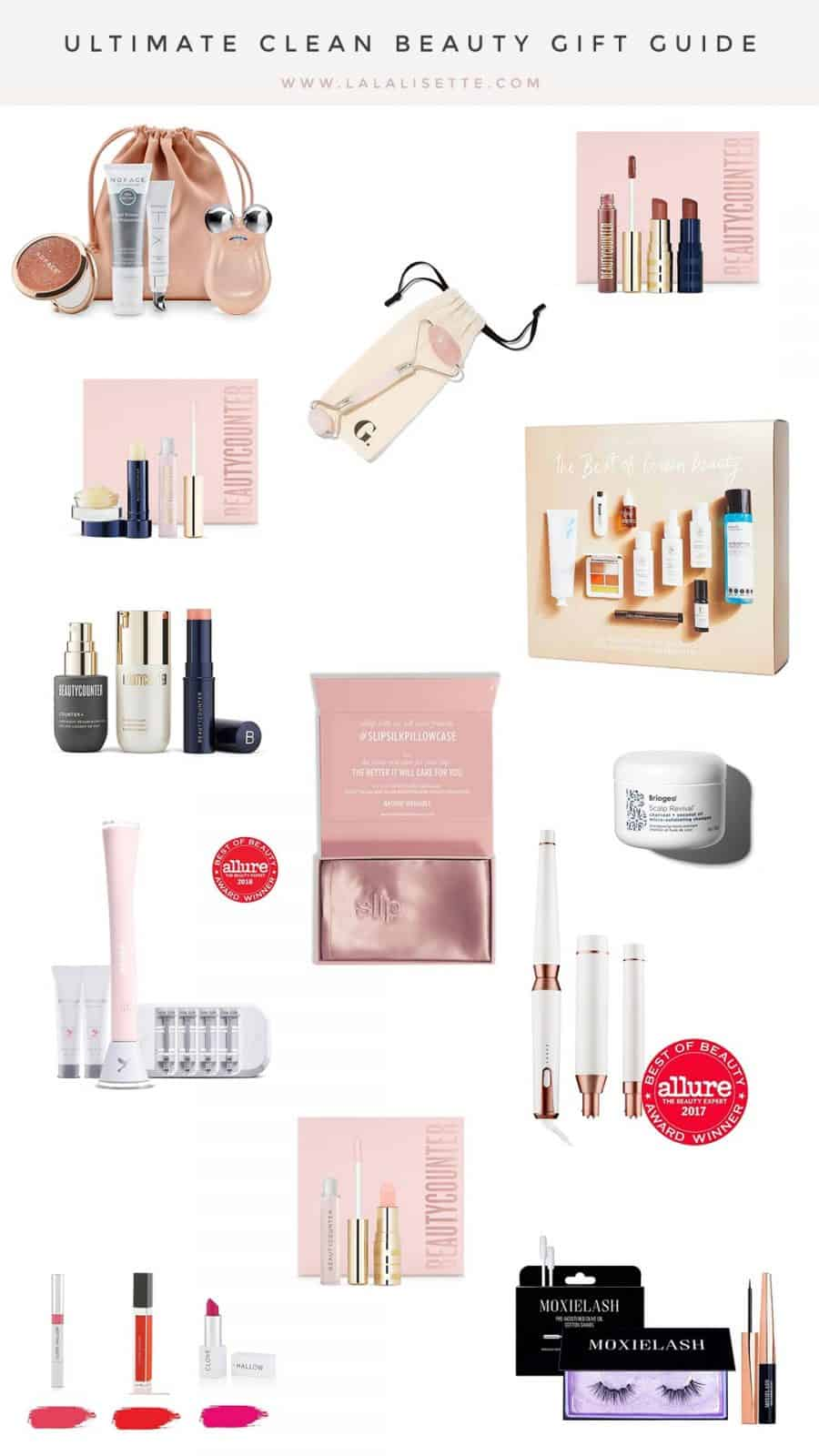 graphic of clean beauty items with text: Ultimate Clean Beauty Gift Guide www.lalalisette.com