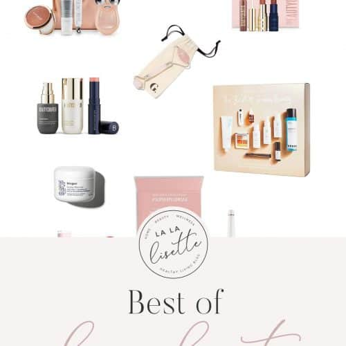 graphic of products with text: Best of Clean Beauty Gift Ideas