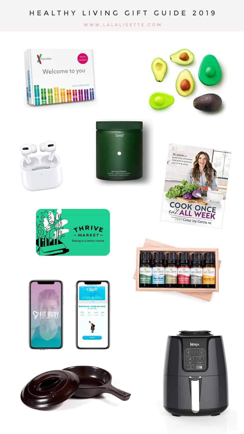 collage of items with title: Healthy Living Gift Guide 2019