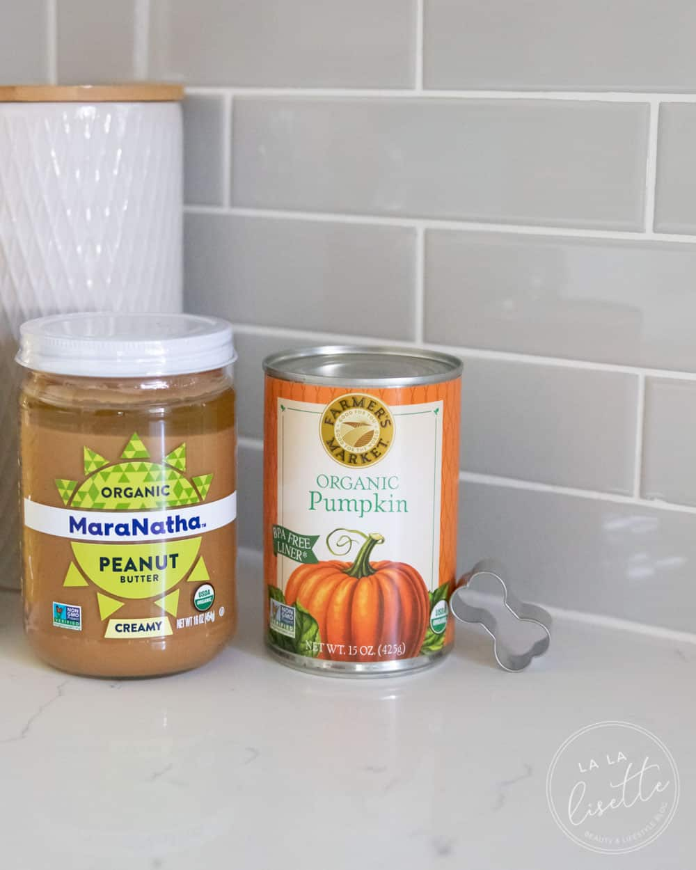 organic peanut butter and organic pumpkin with bone-shaped cookie cutter