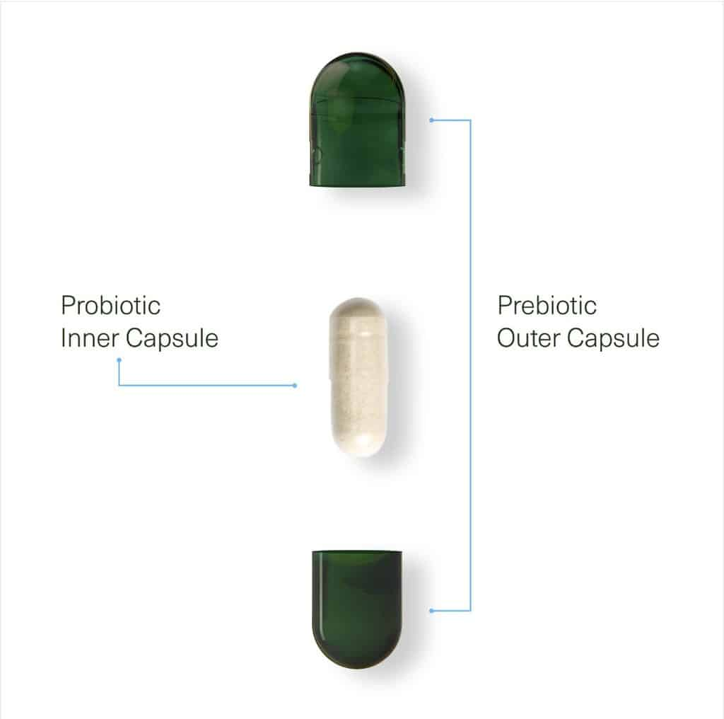 Seed inner probiotic capsule and prebiotic outer capsule