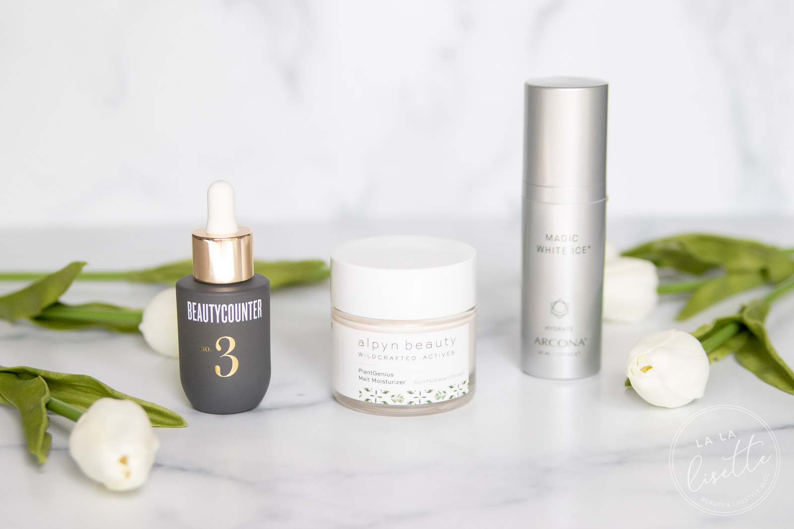 Beautycounter Balancing Oil, Alpyn Beauty PlantGenius Melt Moisturizer, Arcona White Magic Gel