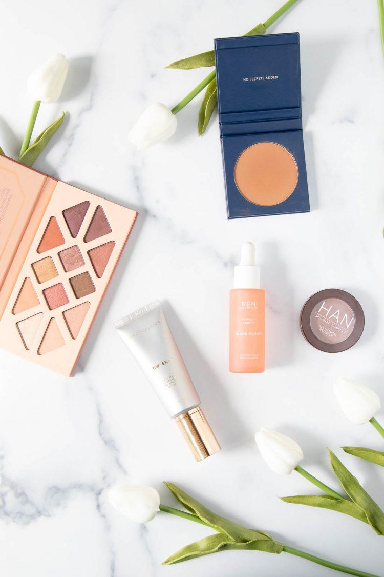 solstice eyeshadow palette, Dew Skin, REN Skincare clean primer, HAN bronzer, Beautycounter bronzer