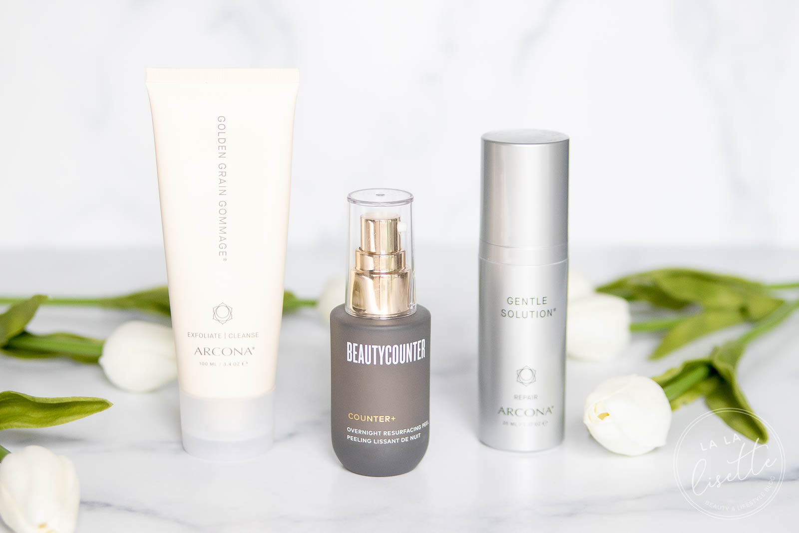 Arcona Golden Grain Gommage, Beautycounter Overnight Resurfacing Peel, and Arcona Gentle Solution