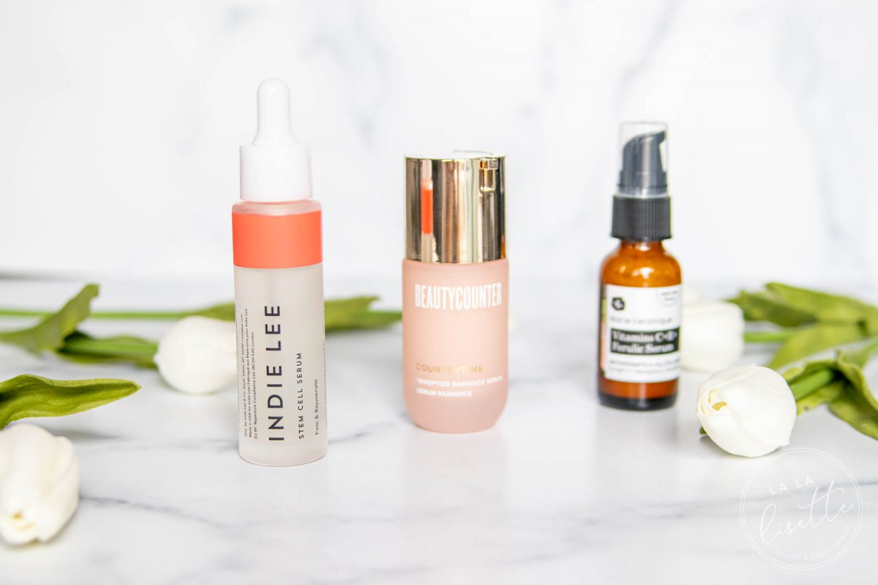 Indie Lee Stem Cell Serum, Beautycounter Countertime Tripeptide Radiance Serum, and Marie Veronique Vitamins C + E + Ferulic Serum