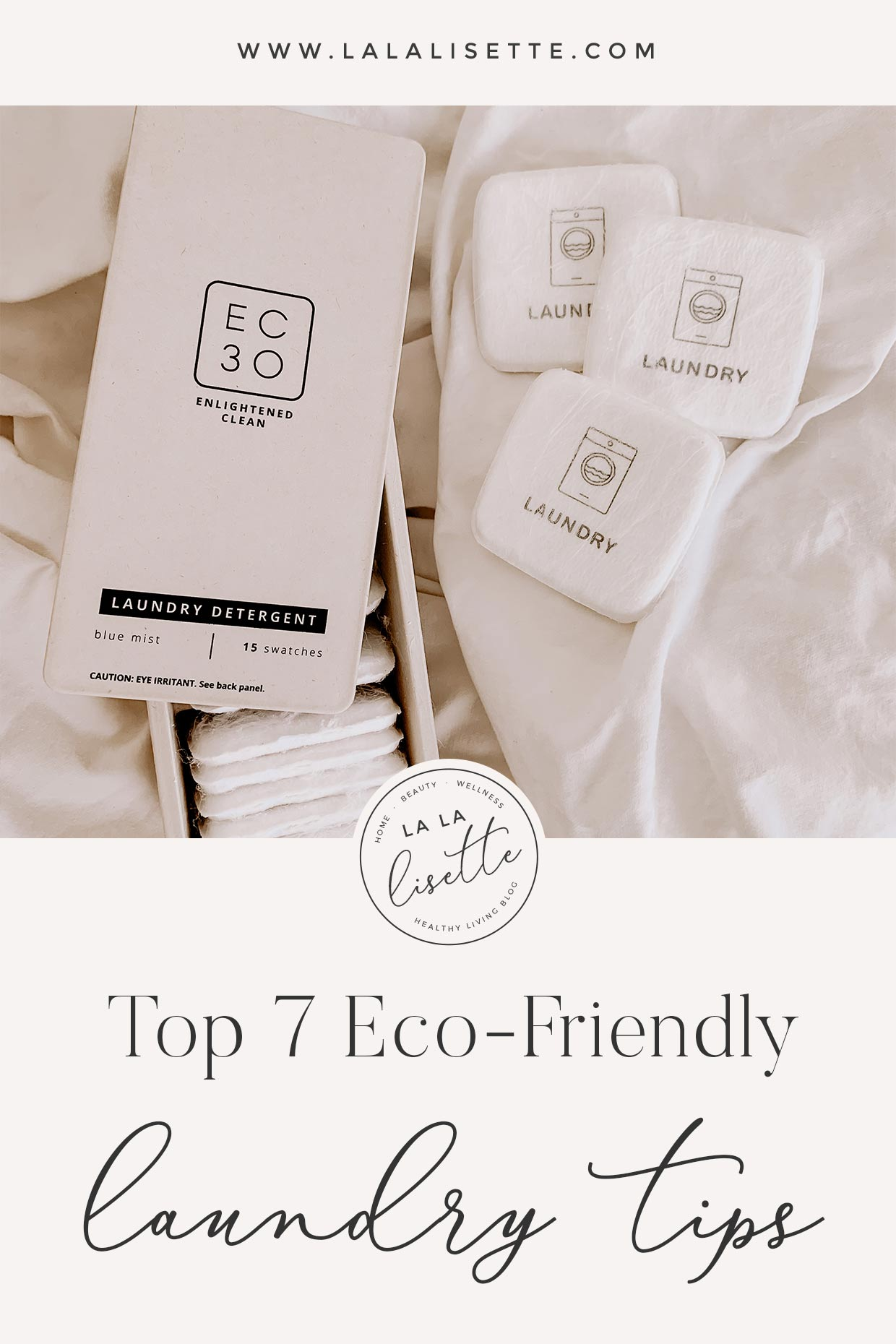 graphic with top 7 eco-friendly laundry tips